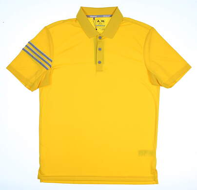 New Mens Adidas Climacool 3-Stripe Club Polo Medium M Yellow MSRP $60 CD7923