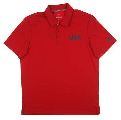 New Mens Adidas USA Ultimate 365 Solid Polo Large L Red MSRP $70