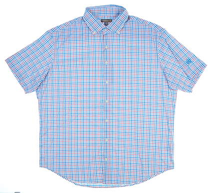 New W/ Logo Mens Peter Millar Short Sleeve Button Up X-Large XL Multi MSRP $120