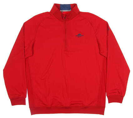 New W/ Logo Mens Adidas Club 1/2 Zip Layer Large L Red MSRP $75 BC2495