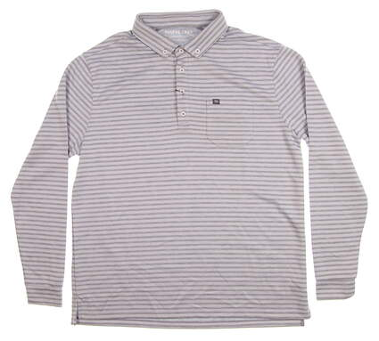 New Mens MATTE GREY Long Sleeve Golf Polo Large L Gray MSRP $80