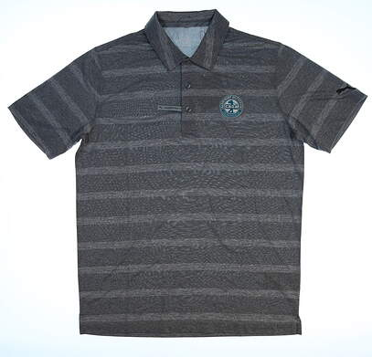 New W/ Logo Mens Puma Pounce Stripe Polo Small S Gray MSRP $57 572350 05