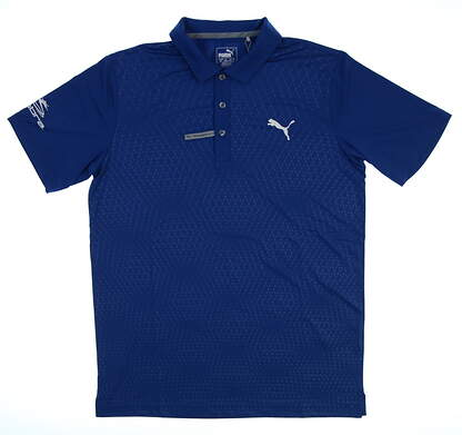 New Tour Issue Player Mens Puma Argyle Emboss Polo Small S True Blue 572210 01