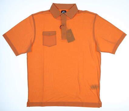 New Mens Footjoy Spun Poly Chest Pocket Polo Medium M Terracotta MSRP $75 25554