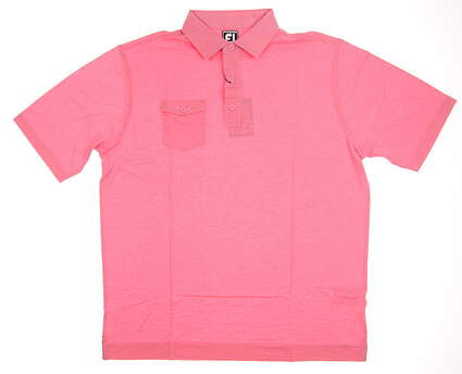 New Mens Footjoy Spun Poly Self Collar Golf Polo Large L Pink MSRP $76 22839