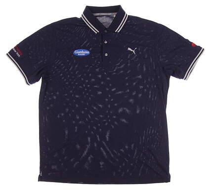 New W/ Logo Mens Puma Pounce Pique Polo Large L Peacoat 572351 03