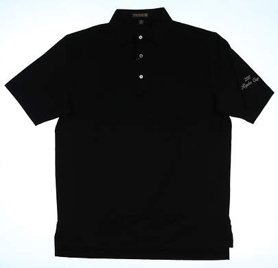 New W/ Logo Mens Peter Millar Golf Polo Medium M Black MSRP $79 MC0EK01S