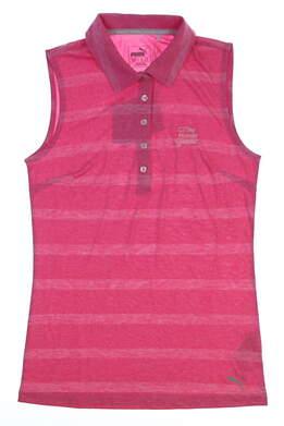 New W/ Logo Womens Puma Pounce Stripe Sleeveless Polo X-Small XS Pink 572389 02