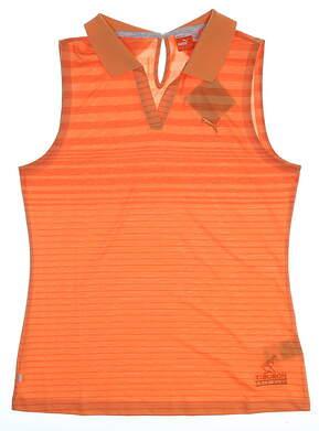 New W/ Logo Womens Puma Keyhole Stripe Sleeveless Polo Medium M Orange 568348 02
