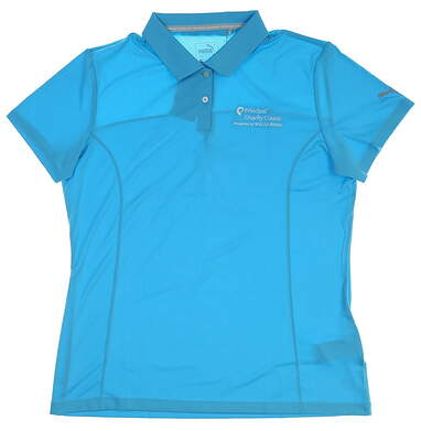 New W/ Logo Womens Puma Pounce Polo Large L Blue Atoll 570527 27