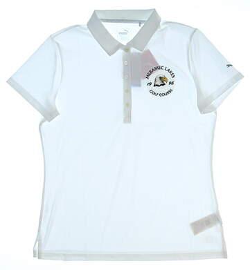 New W/ Logo Womens Puma Pounce Polo Large L White 574652 02