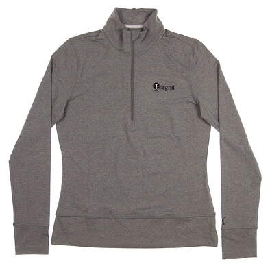 New W/ Logo Womens Puma 1/4 Zip Pullover Large L Medium Gray Heather 572377 03