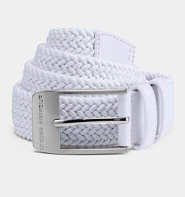 New Mens Under Armour Braided 2.0 Belt Size 34 White MSRP $40 UA0557