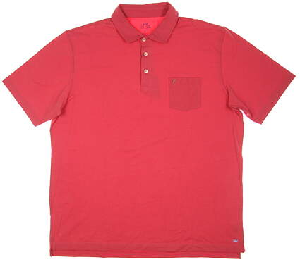 New W/ Logo Mens Peter Millar Seaside Wash Polo X-Large XL Red MSRP $78 MS18K70P