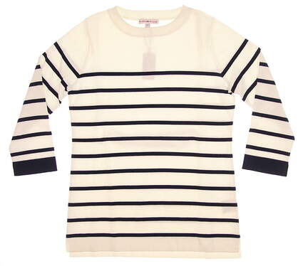 New Womens Peter Millar Maggie Stripe Sweater X-Small XS White/ Navy MSRP $155 LF17ES05