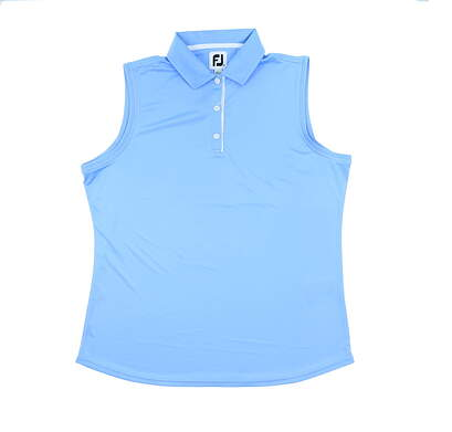New Womens Footjoy Solid Interlock Sleeveless Polo X-Large XL Light Blue MSRP $65 27075