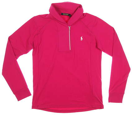 New Womens Ralph Lauren 1/4 Zip Pullover Medium M Pink MSRP $100