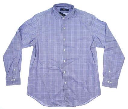 New Mens Ralph Lauren Dress Shirt Large L White/Blue MSRP $89 SP17