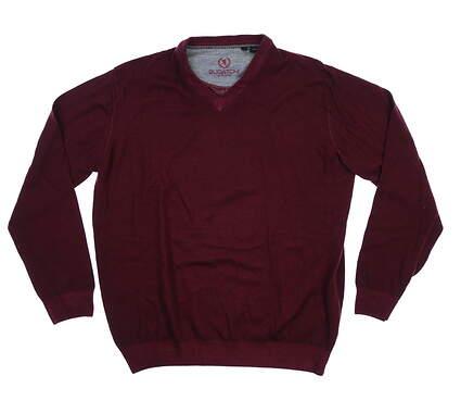 New Mens BUGATCHI Merino Wool Sweater Medium M Maroon MSRP $195 MH400