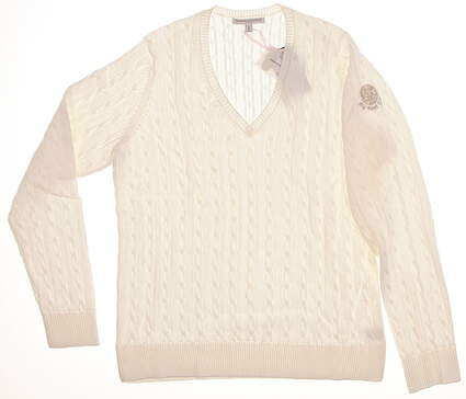 New W/ Logo Womens Fairway & Greene Perry Cable V-Neck Golf Sweater Large L White MSRP $115
