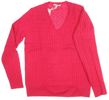 New W/ Logo Womens Fairway & Greene Perry Cable V-Neck Sweater Large L Strawberry Punch MSRP $115 D32178