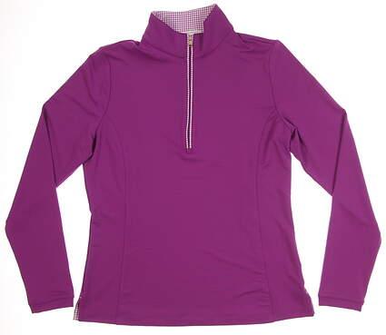 New W/ Logo Womens Fairway & Greene Grace Zip Mock 1/2 Zip Golf Pullover Medium M Bijou MSRP $110 E32226