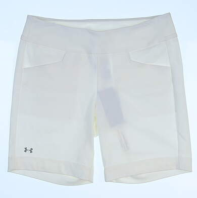 New Womens Under Armour Essential Stretch Shorts Size Large L White MSRP $70