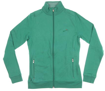 New W/ Logo Womens Peter Millar Full Zip Mock Neck X-Small XS Green MSRP $100 LF15K32