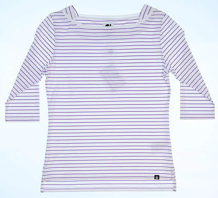 New Womens Footjoy Boatneck 3/4 Sleeve Shirt Small S White/Grape MSRP $68