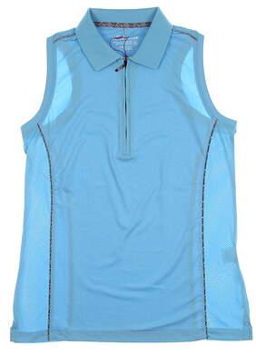 New Womens Peter Millar Sleeveless Polo Medium M Surf Blue MSRP $88