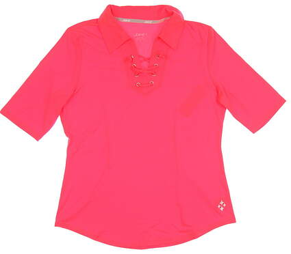 New Womens Jo Fit Lace Up 3/4 Sleeve Polo X-Small XS Coral MSRP $85