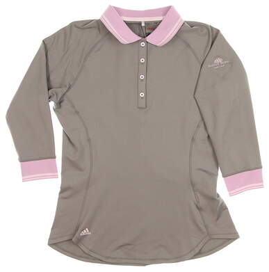New W/ Logo Womens Adidas Climawarm Advance Cold Weather 3/4 Sleeve Golf Polo Small S Gray/Purple MSRP $65 Z99113
