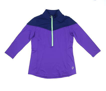 New Womens Jo Fit Colorblock 3/4 Sleeve Polo Small S Multi MSRP $75