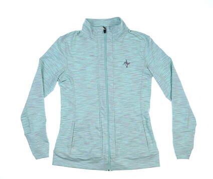 New W/ Logo Womens Straight Down Jacket Medium M Heather Teal/Grey MSRP $120
