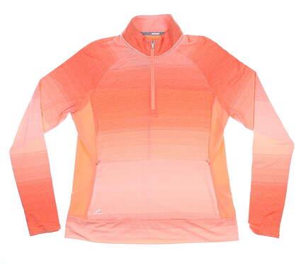 New Womens Adidas Rangewear 1/2 Zip Pullover Large L Orange MSRP $70 CE2994