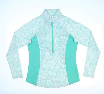 New Womens Cutter & Buck Annika Rain 1/2 Zip Pullover Small S Glass MSRP $85 LAK06400