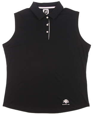 New W/ Logo Mens Footjoy Solid Interlock Sleeveless Golf Polo X-Large XL Black MSRP $69 27073