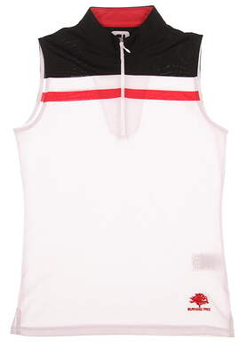 New W/ Logo Womens Footjoy Sleeveless 1/4 Zip Golf Polo Small S White/Black/Red MSRP $76 24704