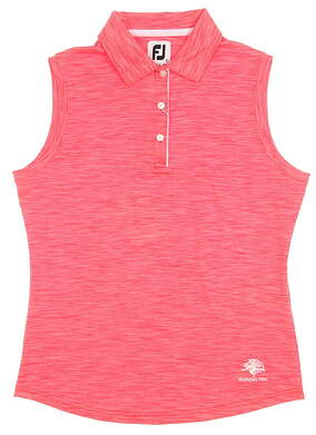 New W/ Logo Womens Footjoy Solid Interlock Sleeveless Golf Polo Small S Red MSRP $69 27078
