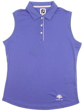 New W/ Logo Womens Footjoy Solid Interlock Sleeveless Golf Polo X-Large XL Periwinkle MSRP $69 27445