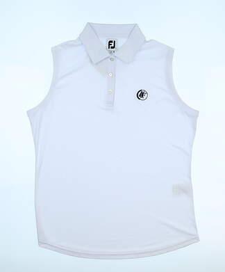 New W/ Logo Womens Footjoy Sleeveless Polo Medium M White