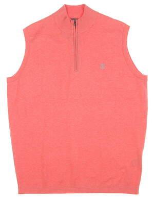 New W/ Logo Mens Peter Millar 1/4 Zip Sweater Vest Medium M Guava MSRP $165 MS16ES02