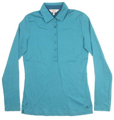 New Womens Bobby Jones Clover Long Sleeve Polo Small S Pacific Blue MSRP $90 BWM23001