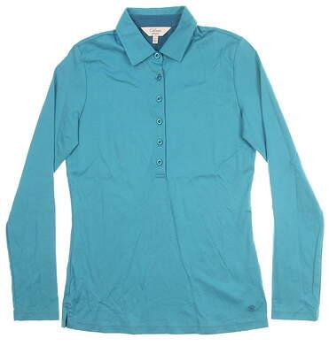 New Womens Bobby Jones Long Sleeve Polo Medium M Blue MSRP $90