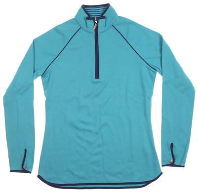 New Womens Bobby Jones Clover 1/2 Zip Pullover Small S Blue MSRP $85