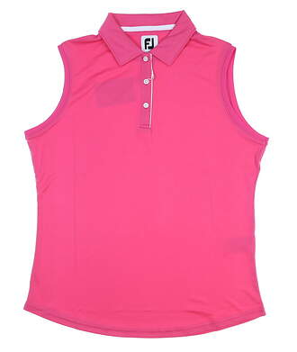 New Womens Footjoy Interlock Sleeveless Polo Large L Hot Pink MSRP $60 27074