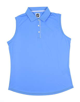 New Womens Footjoy Interlock Sleeveless Polo Large L Light Blue MSRP $60 27075