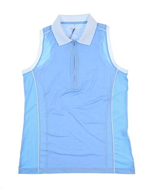 New Womens Peter Millar Sleeveless Polo Medium M Blue Sky MSRP $66