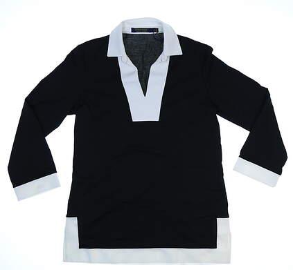 New Womens Ralph Lauren Polo Golf Long Sleeve Tunic Small S Black/White MSRP $115