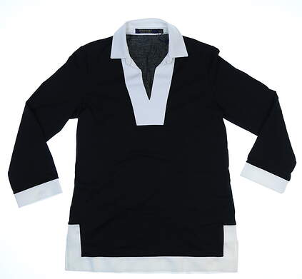 New Womens Ralph Lauren Polo Golf Long Sleeve Polo X-Small XS Black/White MSRP $115